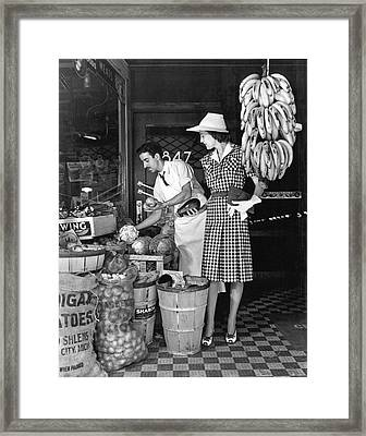Buying Fruit And Vegetables Framed Print by Underwood Archives