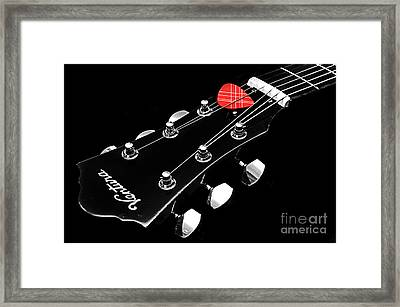 Bw Head Stock With Red Pick  Framed Print by Andee Design