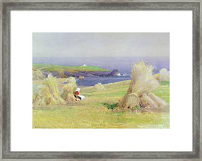By The Corn Stocks Framed Print by Arthur Claude Strachan