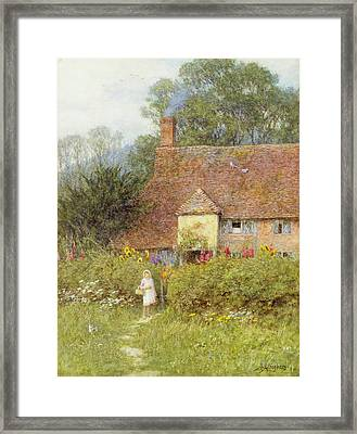 By The Cottage Gate Wc On Paper Framed Print by Helen Allingham