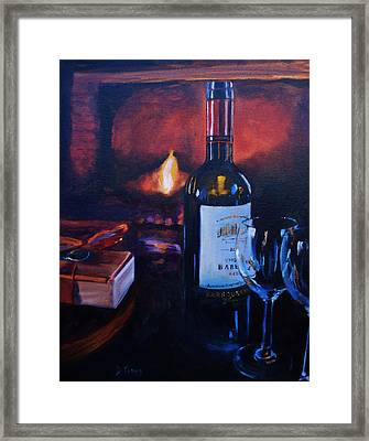 By The Fire Framed Print by Donna Tuten