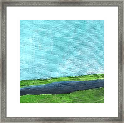 By The River- Abstract Landscape Painting Framed Print by Linda Woods