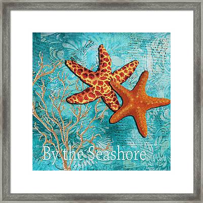 By The Sea Shore Original Coastal Painting Colorful Starfish Art By Megan Duncanson Framed Print by Megan Duncanson