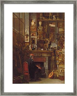 By The Studio Fire, 1860 Framed Print by John Dawson Watson