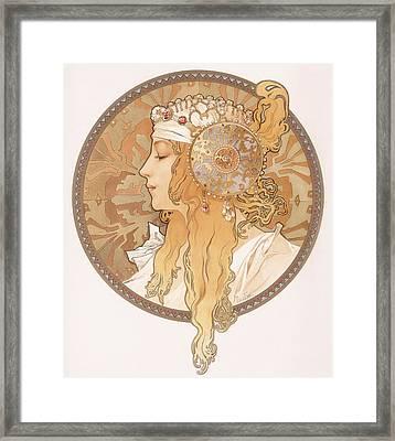Byzantine Head Of A Blond Maiden Framed Print by Alphonse Marie Mucha