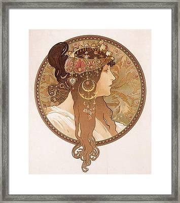 Byzantine Head Of A Brunette Framed Print by Alphonse Marie Mucha