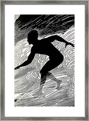 C.1930, Don Blanding Art, Surfer Framed Print by Hawaiian Legacy Archive