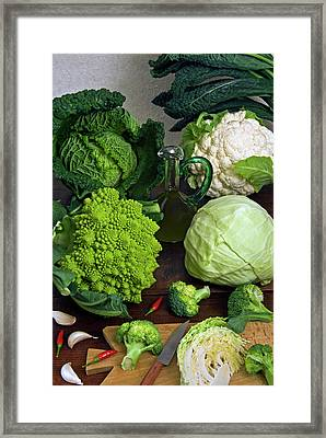 Cabbages -clockwise- Broccoli Framed Print by Nico Tondini