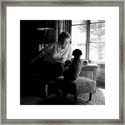 Cabin Chat Framed Print by Trever Miller