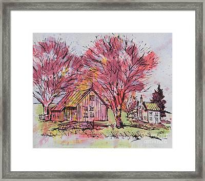 Cabin Hallow Road Farm Framed Print by Larry Lerew