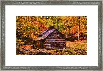 Cabin In Autumn Framed Print by Dan Sproul