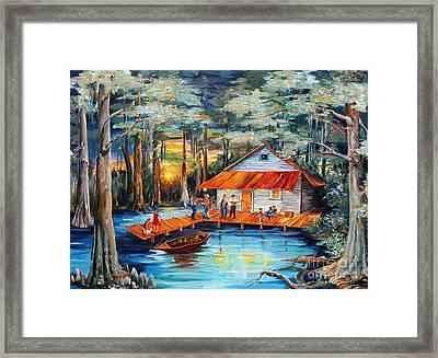 Cabin In The Swamp Framed Print by Diane Millsap