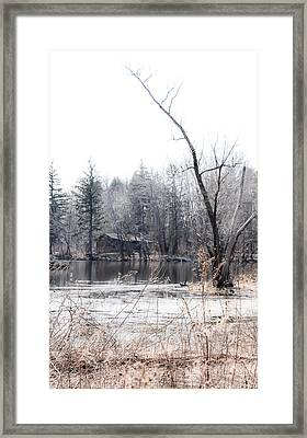 Cabin In The Woods Framed Print by Julie Palencia