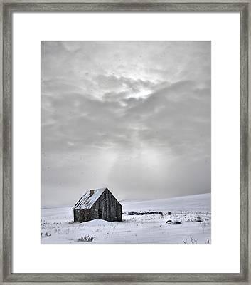 Cabin In Winter Framed Print by Leland D Howard