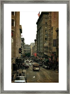 Cable Car In The City Framed Print by Michelle Calkins