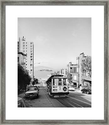Cable Car On Hyde Street Hill Framed Print by Underwood Archives