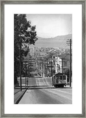 Cable Cars On Fillmore Street Framed Print by Underwood Archives