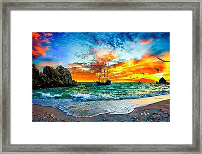 Cabo San Lucas-fantasy Pirate Ship-sailing Sunset Framed Print by Eszra Tanner