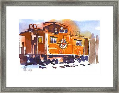 Caboose In Snow And Ice Framed Print by Kip DeVore
