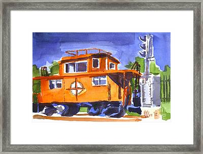 Caboose With Silver Signal Framed Print by Kip DeVore