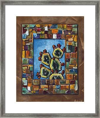 Cactus Mosaic Framed Print by Judy Lybrand