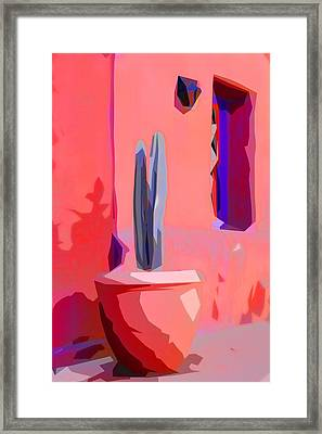 Cactus On Patio Collage Framed Print by Carol Leigh