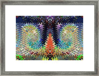 Cactus Shaped Wave Pattern Artistic Abstract Deco Decoratios By Navinjoshi Featured Artist Framed Print by Navin Joshi