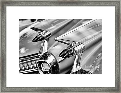 Cadillac Bullet Tail Lights Monochrome Framed Print by Tim Gainey