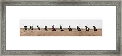 Cadillac Ranch Panoramic Framed Print by Jerry Tompkins