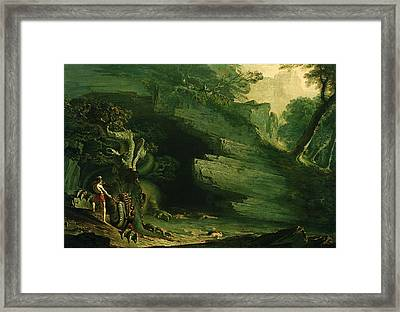 Cadmus And The Dragon  Framed Print by John Martin