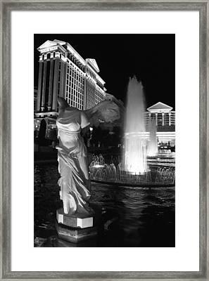 Caesars Fountain Bw Framed Print by Jenny Hudson