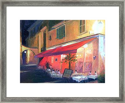 Cafe Scene Cannes France Framed Print by Jan Matson