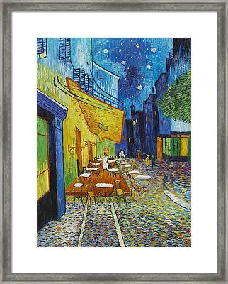 Cafe Terrace At Night Framed Print by Georgia Fowler