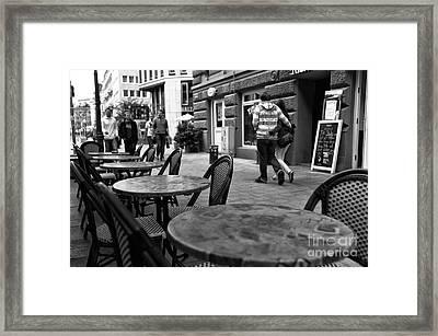 Cafe Walk Mono Framed Print by John Rizzuto