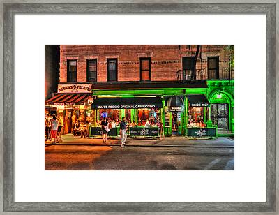 Caffe Reggio And Mamouns Falafel In Greenwich Village Framed Print by Randy Aveille