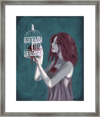 Caged Heart Framed Print by Stacy Parker