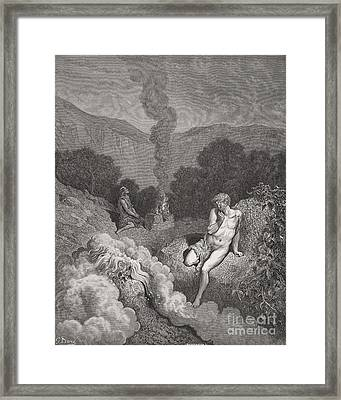 Cain And Abel Offering Their Sacrifices Framed Print by Gustave Dore