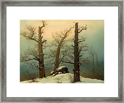Cairn In Snow Framed Print by Mountain Dreams