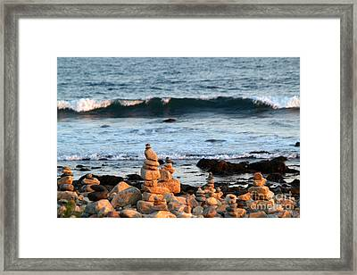 Cairns And Surf At Point Judith Framed Print by Anna Lisa Yoder