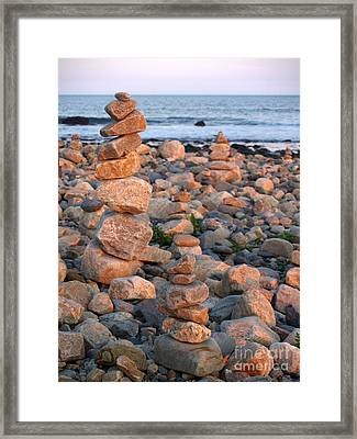 Cairns In The Golden Hour At Point Judith Framed Print by Anna Lisa Yoder