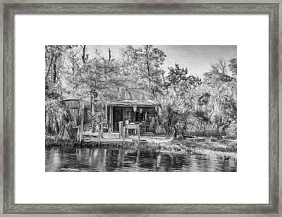 Cajun Cabin - Paint Bw Framed Print by Steve Harrington