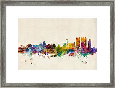 Calcutta India Skyline Framed Print by Michael Tompsett