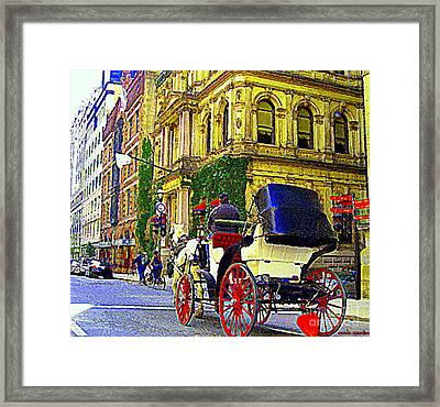 Caleche Ride By The Hotel Le St James Vieux Port Montreal Old World Charm And Elegance C Spandau Art Framed Print by Carole Spandau