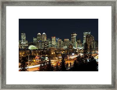 Calgary Skyline Framed Print by Domenik Studer