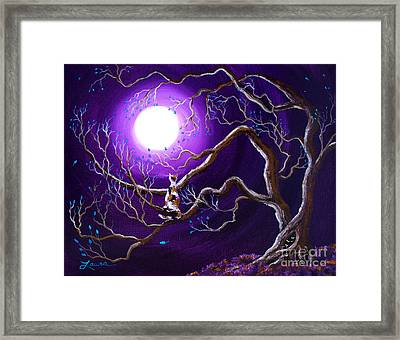 Calico Cat In Haunted Tree Framed Print by Laura Iverson