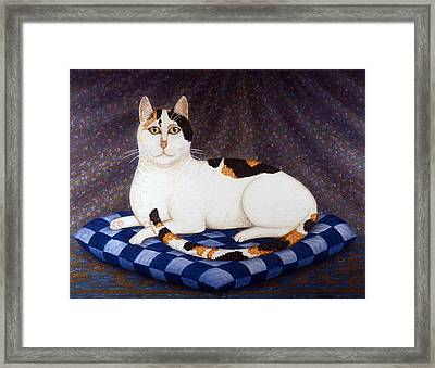 Calico Cat Portrait Framed Print by Linda Mears