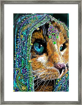 Calico Indian Bride Cats In Hats Framed Print by Michele  Avanti