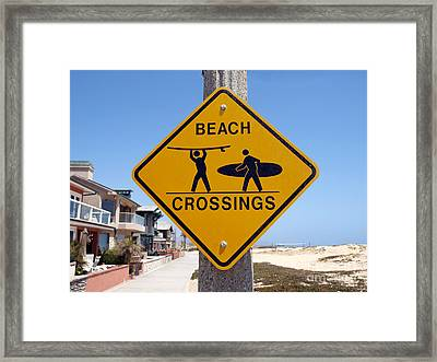 California Beach Crossing Framed Print by Trekkerimages Photography