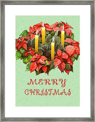 California Cactus Christmas Framed Print by Mary Helmreich
