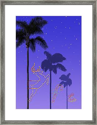 California Christmas Palm Trees Framed Print by Mary Helmreich